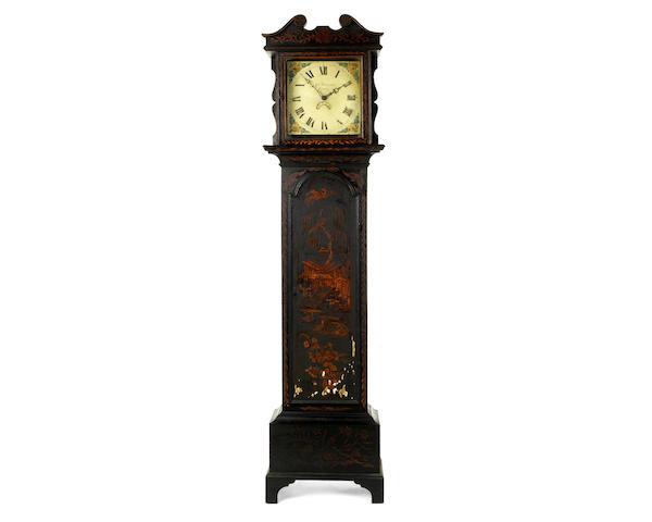 A George III black Japanned longcase clock