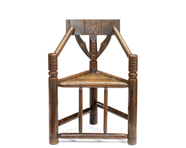 A Victorian oak turner's chair