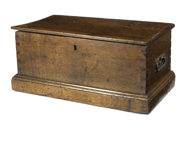 A small George III oak coffer