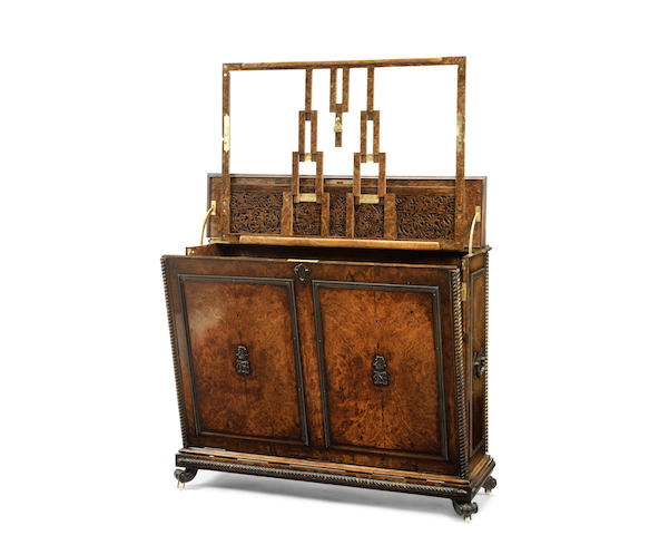 A Fine Victorian burr and figured walnut and gilt bronze mounted folio cabinet