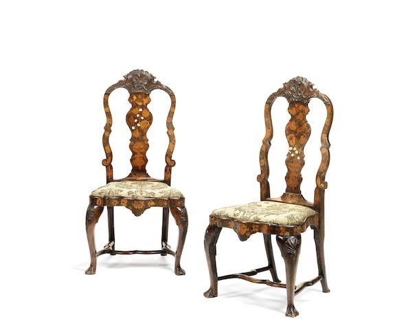 A set of six Dutch 18th century walnut, fruitwood, ivory and floral marquetry dining chairs