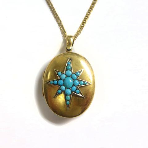 A Victorian turquoise locket pendant