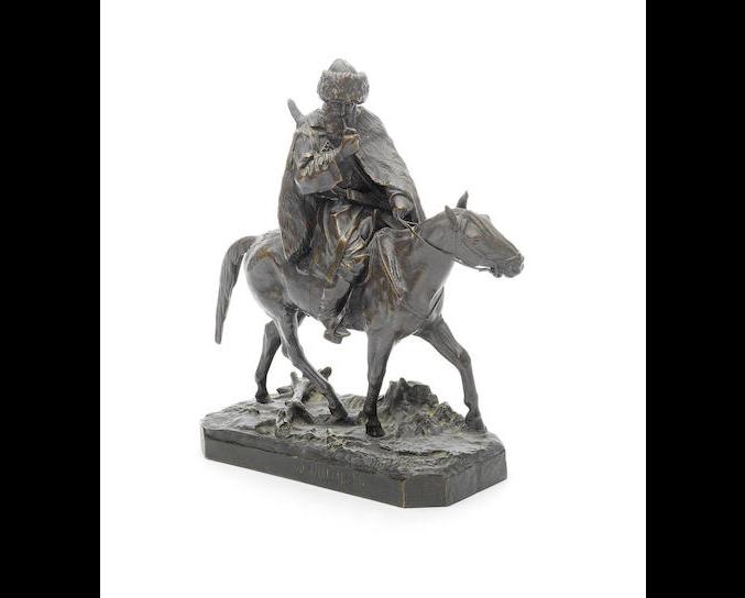 A bronze group of a Circassian on horseback