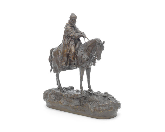 A bronze equestrian group of Ivan the Terrible