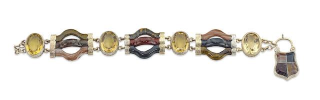 A Victorian Scottish agate and quartz bracelet