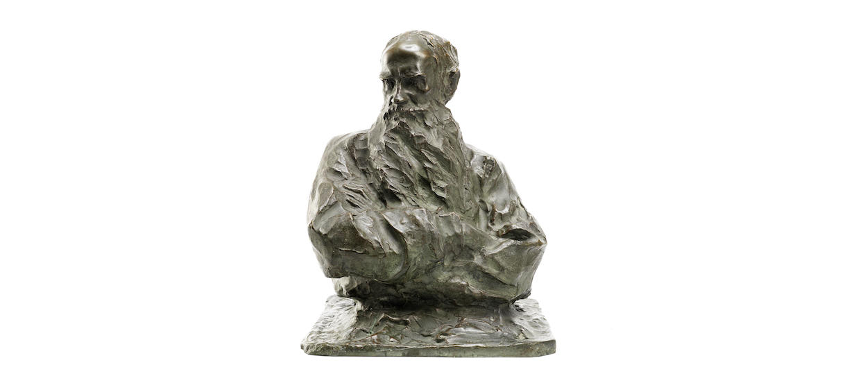 A bronze bust of Lev Tolstoy