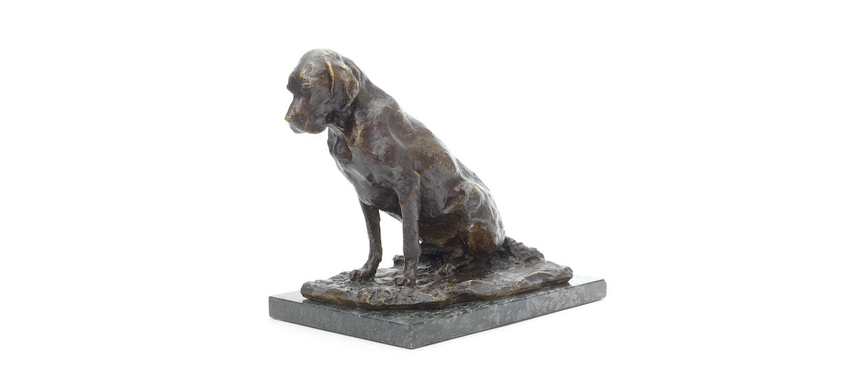 A bronze model of a dog