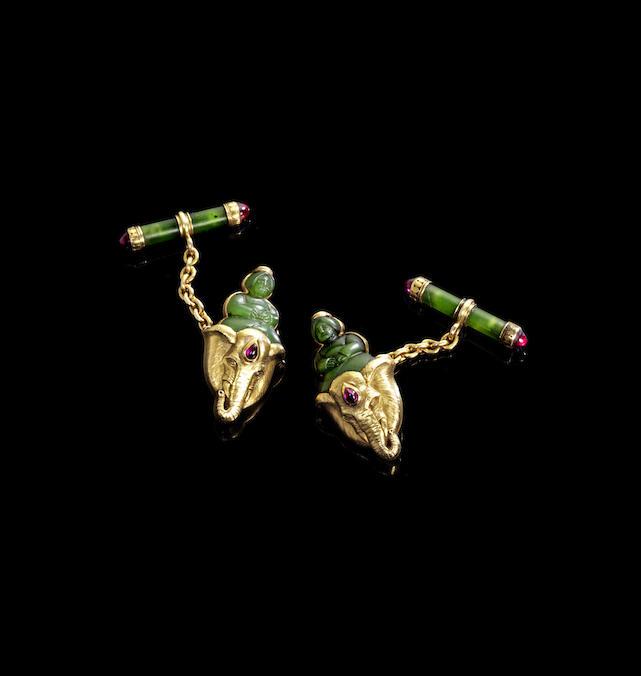 A pair of gold jewelled nephrite cufflinks