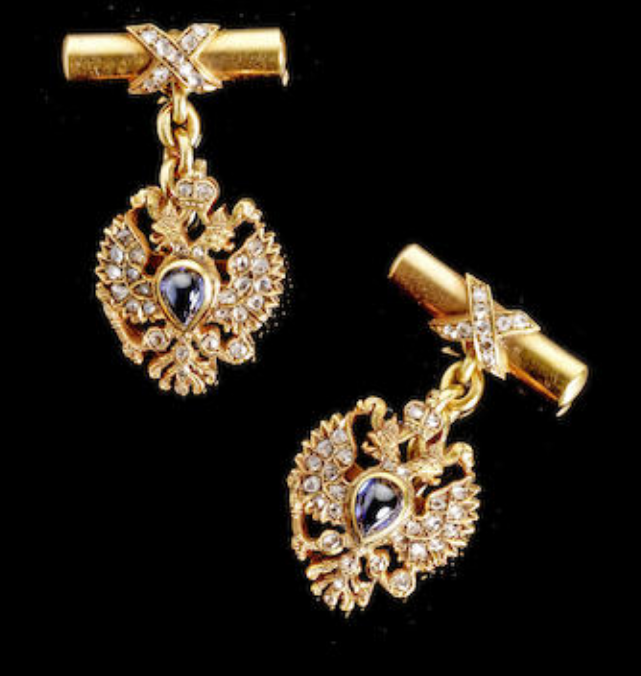 jewelled gold presentation cufflinks