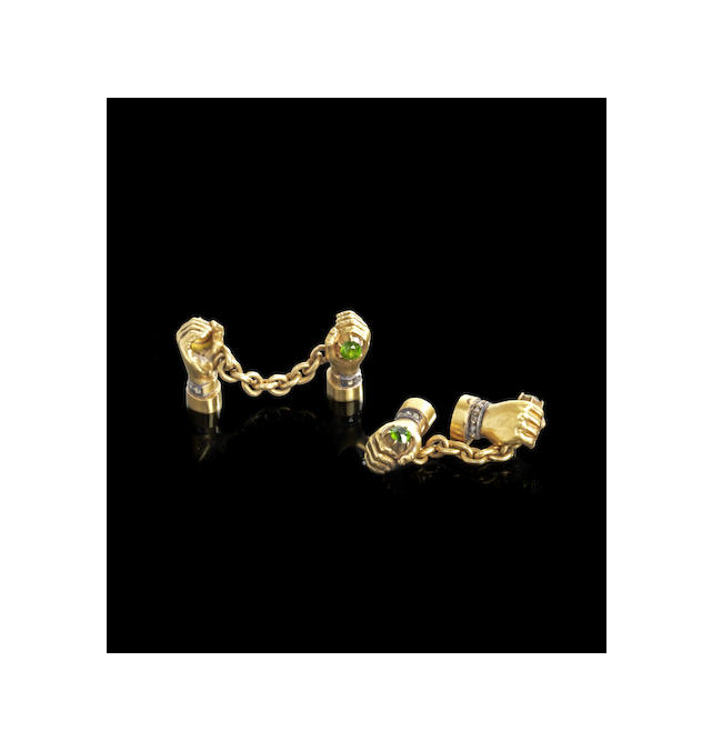 A pair of jewelled gold cufflinks