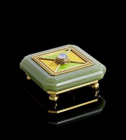 A silver-gilt, enamel and hardstone bell push