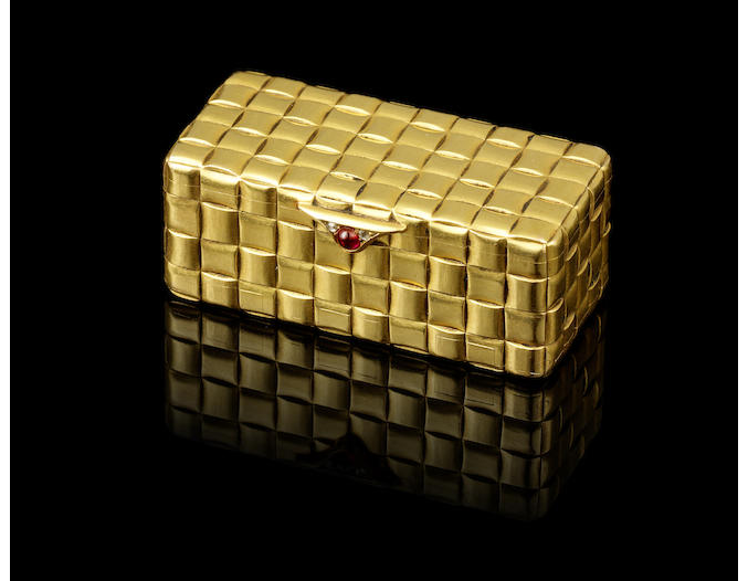 A jewelled trompe l'oeil gold box