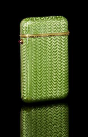 A jewelled silver-gilt and guilloché enamel cigarette case
