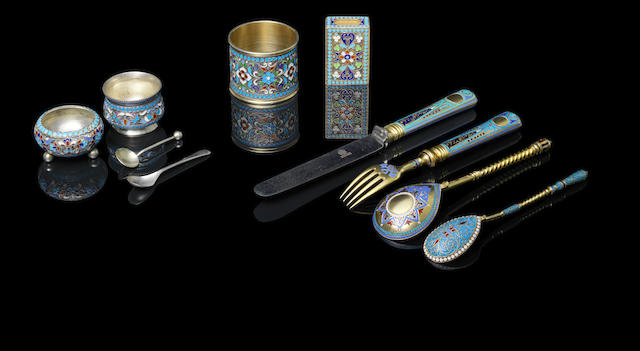 A group of silver-gilt enamel objects
