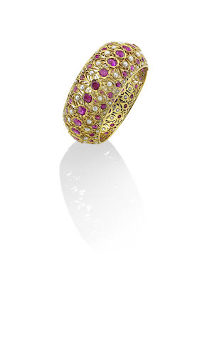 A ruby and pearl bangle, Indian