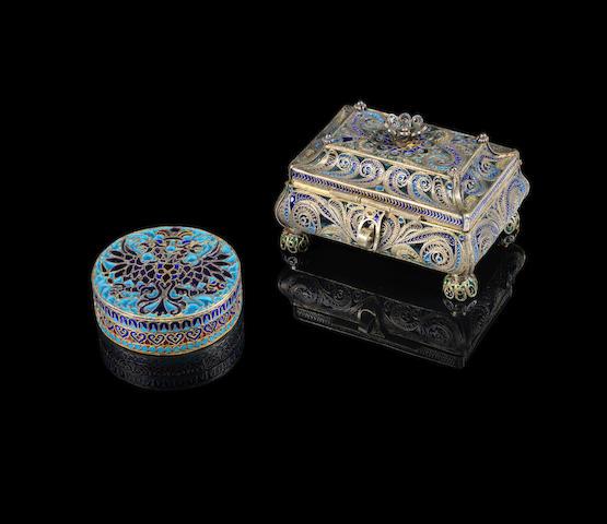a silver-gilt and plique-à-jour casket