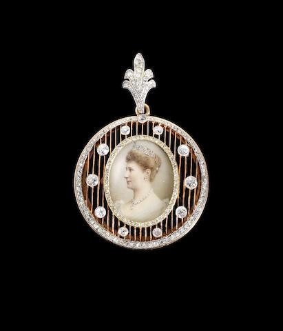 A diamond-set gold portrait pendant