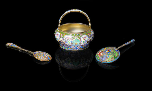 A group of enamelled silver gilt objects