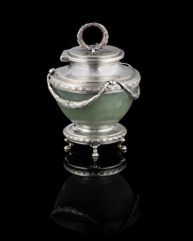 A silver-gilt mounted hardstone inkwell