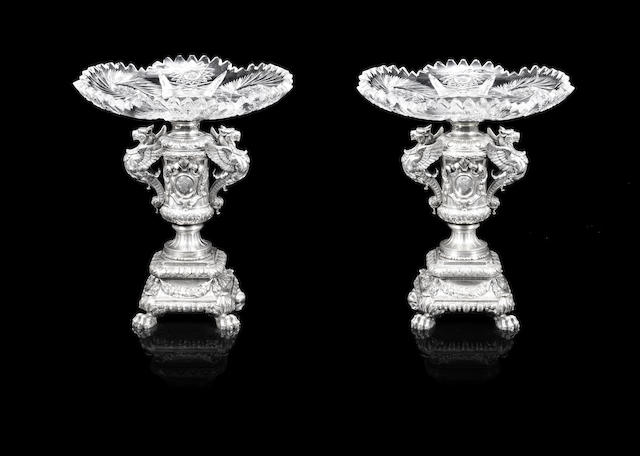 A pair of silver and cut-glass tazzas