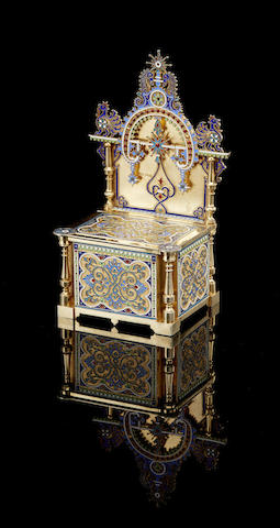 A large silver-gilt ad enamel salt cellar