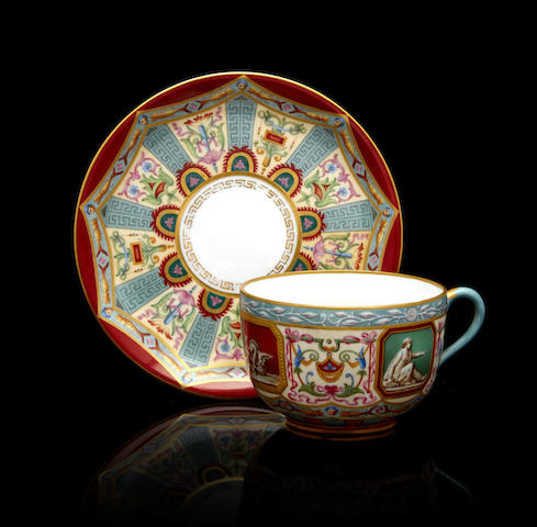 A porcelain cup and saucer from the Raphael Service