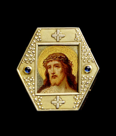 A silver-gilt and jewelled miniature icon of Christ