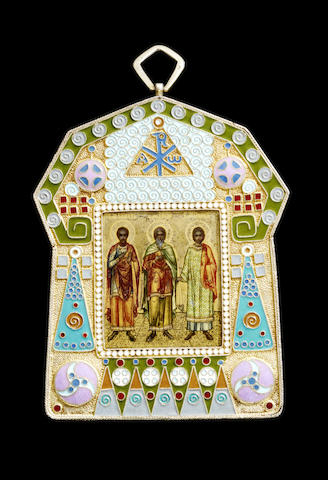 A miniature silver-gilt and enamel icon of Three Saints