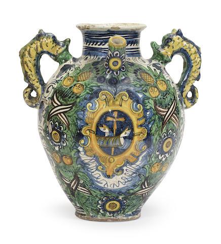 A Montelupo maiolica armorial wet drug jar