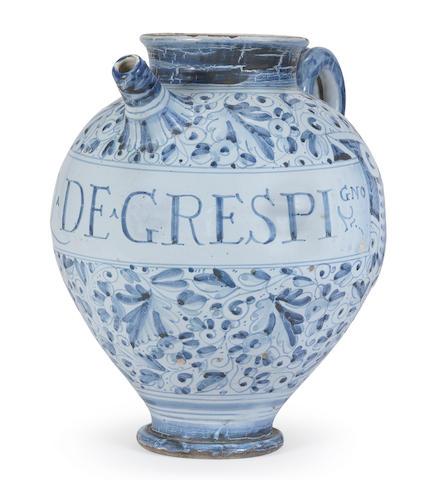 An Italian maiolica berretino-ground wet drug jar, perhaps Rome
