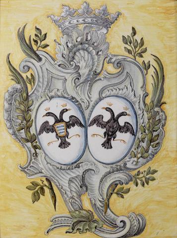 A Castelli maiolica armorial plaque