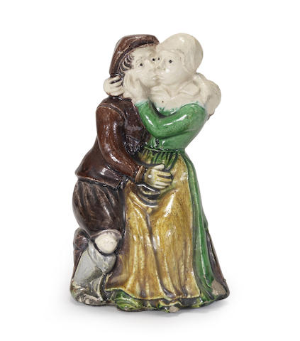 A rare French Palissy-school group of an embracing couple