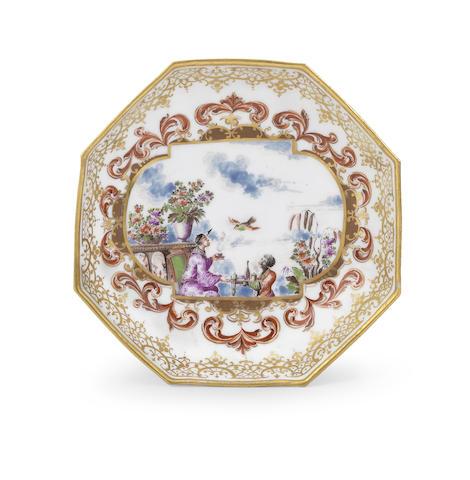 A very rare Meissen octagonal saucer
