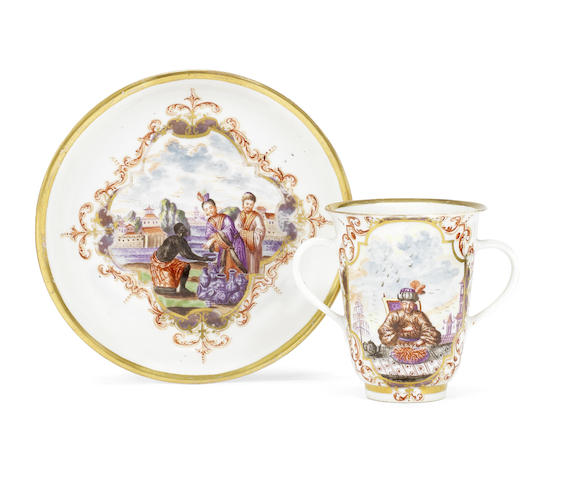 A rare early Meissen double-handled beaker and saucer