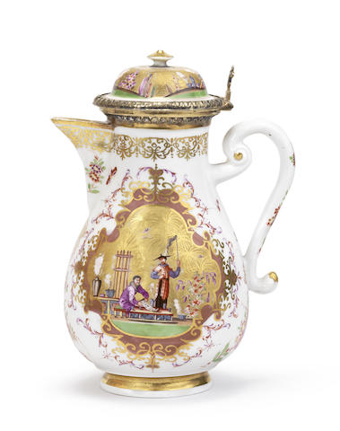 A rare Meissen silver-gilt-mounted coffee pot and cover