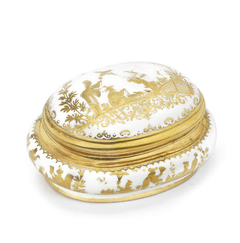 A Meissen Hausmaler oval sugar box and cover
