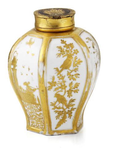 A Meissen Hausmaler tea canister
