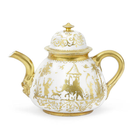 A Meissen Hausmaler teapot and cover