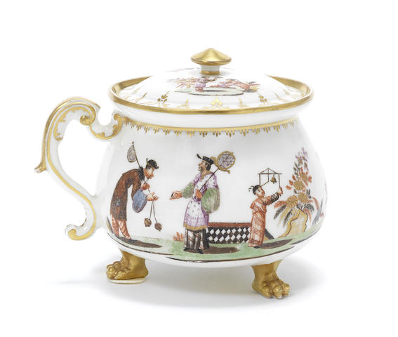 A Meissen Hausmaler cream pot and cover, circa 1725, the decoration probably Bayreuth