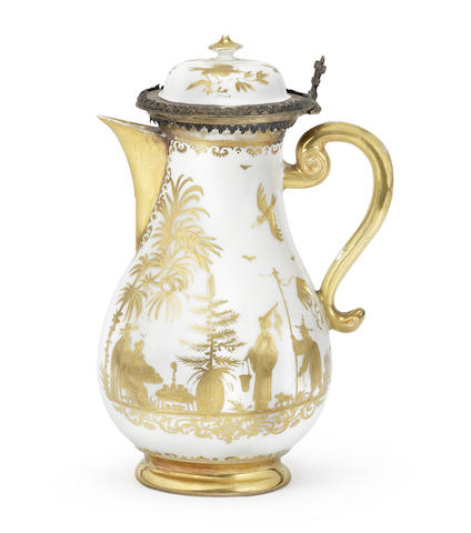 A Meissen silver-gilt-mounted Hausmaler hot water jug and cover