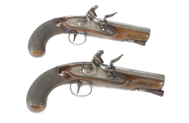 A Pair Of 15-Bore Flintlock Overcoat Pistols
