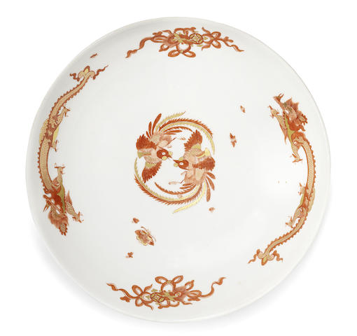 A Meissen circular dish from the 'Red Dragon' service