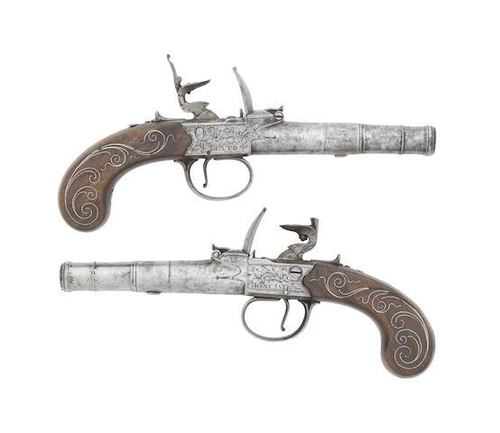 A Pair Of 40-Bore Flintlock Box-Lock Pocket Pistols