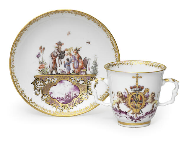 A very rare Meissen armorial two-handled beaker and saucer from the service for the Elector Clemens August of Cologne
