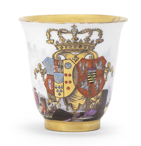 A highly important Meissen armorial beaker with the arms of Naples-Sicily and Saxony-Poland-Lithuania