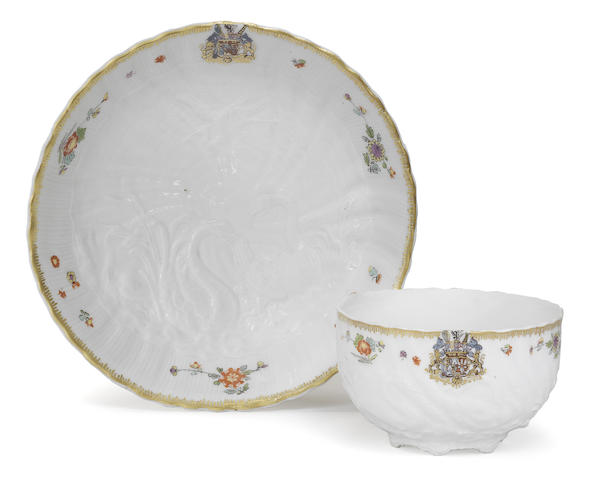 A very rare Meissen teacup and saucer from the Swan Service