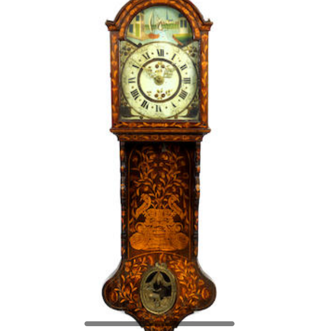 A Dutch late 18th/ early 19th century floral marquetry wall clock