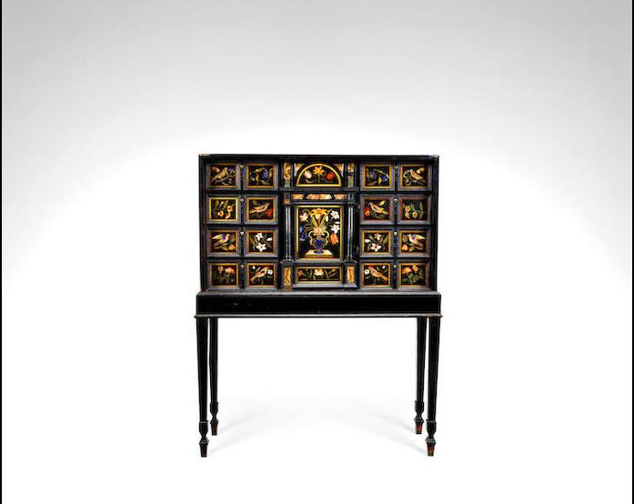 An Italian 17th century ebony, pietra dura and specimen marble cabinet