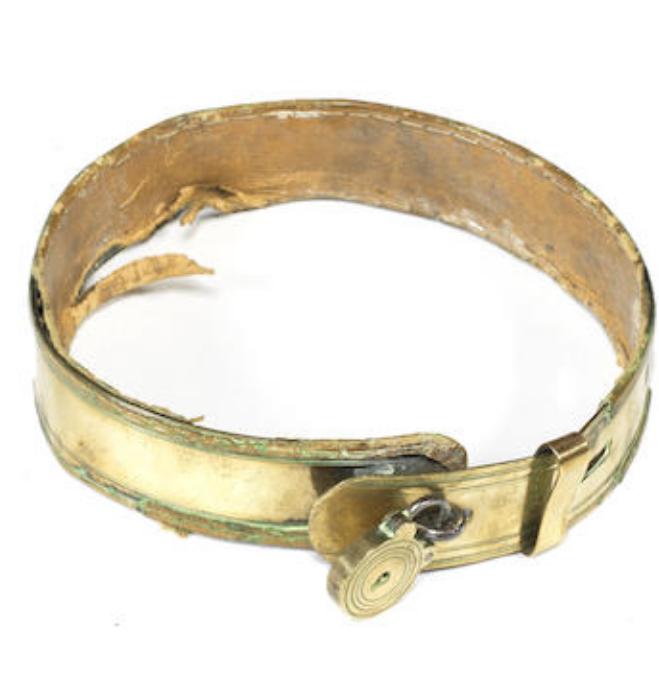 An early 19th century brass dog collar