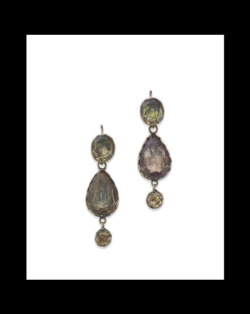 A pair of late Georgian pendent earrings